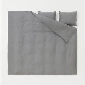 H&M washed linen king size duvet cover set